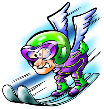Royalty Free Clipart Image of a Man on a Ski Jump