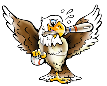 Royalty Free Clipart Image of an Eagle With a Ball and Bat