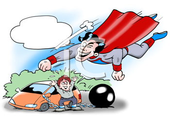 Royalty Free Clipart Image of a Superhero Helping a Motorist