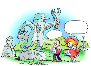 Royalty Free Clipart Image of a Mechanic on a Statue