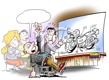 Royalty Free Clipart Image of a Motorcycle Class