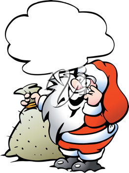 Hand-drawn Vector illustration of an Happy Santa with a sack