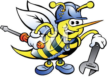 Hand-drawn Vector illustration of an Happy Working Bee Holding Wrench and Screw Driver