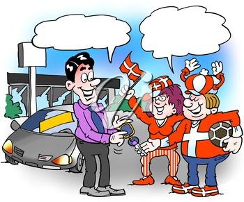 Cartoon illustration of a family who is completely lost in the football national team