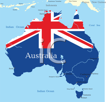 Royalty Free Clipart Image of a Map of Australia With the Flag Painted on It