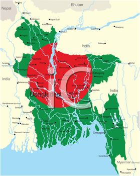 Royalty Free Clipart Image of a Map of Bangladesh With the Flag Painted on It