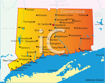 Royalty Free Clipart Image of a Map of Connecticut