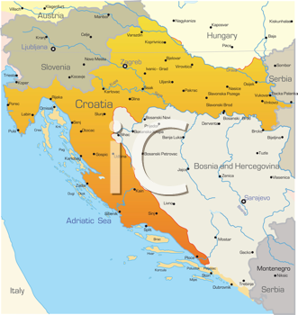 Royalty Free Clipart Image of a Map of Croatia
