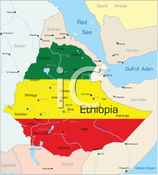 Royalty Free Clipart Image of a Map of Ethiopia With the Flag on It