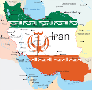 Royalty Free Clipart Image of a Map of Iran Painted With the Flag