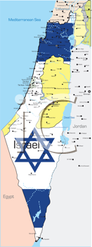 Royalty Free Clipart Image of a Map of Israel Coloured in the Flag