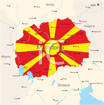 Royalty Free Clipart Image of a Map of Macedonia With the Flag Painted on It