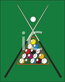 Royalty Free Clipart Image of a Pool Table