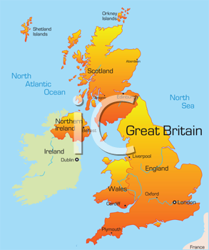 Royalty Free Clipart Image of a Map of Great Britain