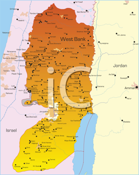 Royalty Free Clipart Image of a Map of the West Bank