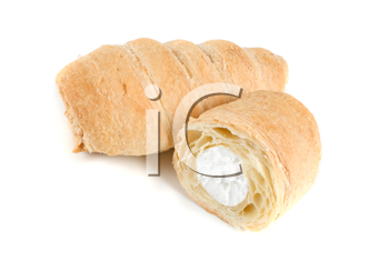 Cream eclairs isolated on a white background