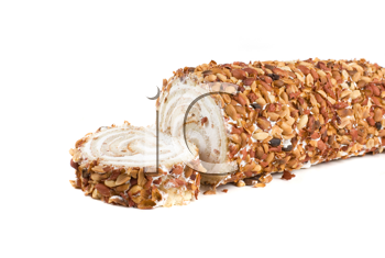 Royalty Free Photo of Nuts on a Swiss Roll