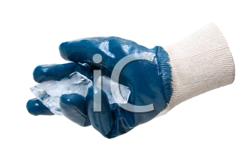 Blue glove hold blocks of ice  isolate on white