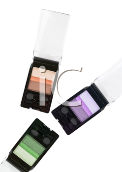 Set of cosmetic paints isolated on a white background