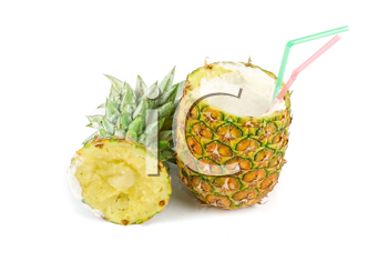 Royalty Free Photo of a Milk Cocktail in a Pineapple