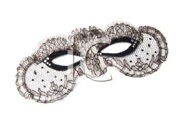 Black masquerade decorative mask on a white background