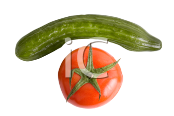 Tomatoes and cucumbers on a white background as phone
