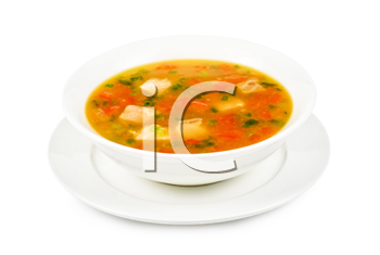 Fish soup with pikeperch and salmon isolated on a white
