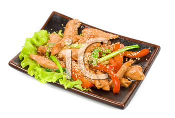 Chinese salad with spicy meat and vegetable