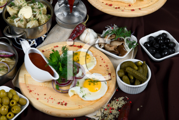 Royalty Free Photo of a Variety of Dishes in a Restaurant