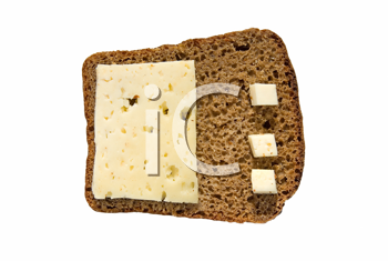 Rye bread with cheese isolated on white background