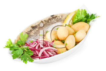 Tasty herring with potato and fresh vegetables