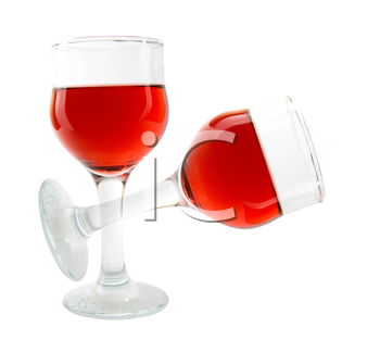 Two wine glasses isolated on white
