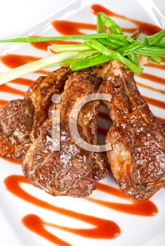 Royalty Free Photo of Roasted Lamb Meat With Scallions