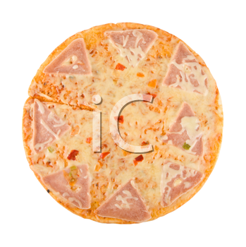 pizza with ham, cheese, pepper isolated on white.