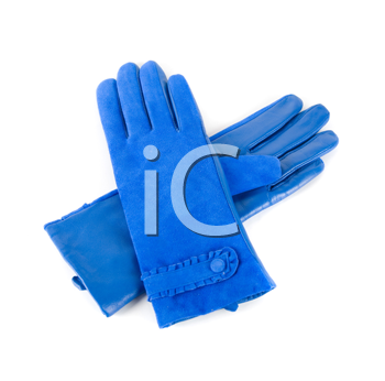 blue modern female leather gloves isolated on a white