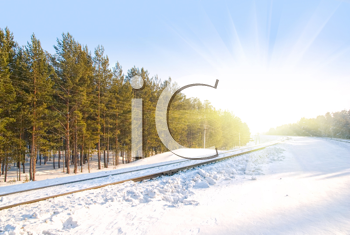 Royalty Free Photo of a Railway in Winter