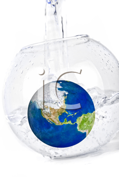Royalty Free Photo of a Globe in a Bowl of Water