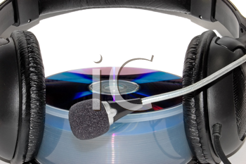 Royalty Free Photo of Headphones on Top of a CD