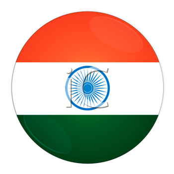 Abstract illustration: button with flag from India country