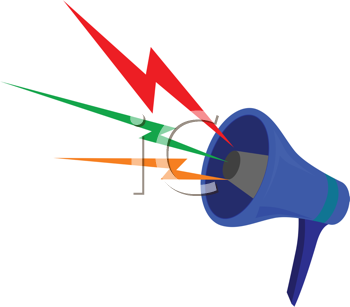 Vector illustration of megaphone with color waves