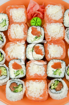 Top view of closeup japanese sushi set