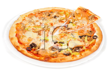 seafood pizza closeup with salmon, shrimps, tomato, pepper, olive and mozzarella cheese on a white background
