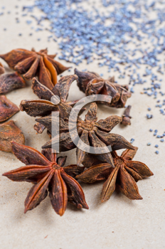 Anise stars close-up on a brown background