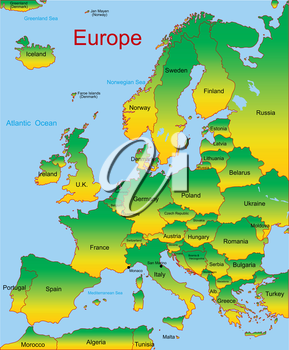 Royalty Free Clipart Image of a Map of Europe