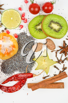 Colorful spices on a white background - beautiful kitchen image.