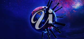 View of Earth from space with corona virus. Concept of corona virus Covid-19. Elements of this image furnished by NASA
