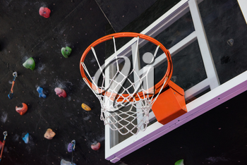 Basketball basket in the modern gym