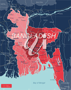 Bangladesh country detailed editable map with regions cities and towns, roads and railways, geographic sites. Vector EPS-10 file