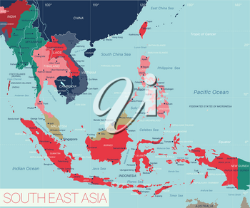 South East Asia region detailed editable map with countries cities and towns. Vector EPS-10 file