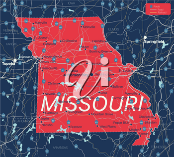 Missouri state detailed editable map with cities and towns, geographic sites, roads, railways, interstates and U.S. highways. Vector EPS-10 file, trending color scheme